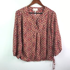 Laundry by Shelli Segal Peasant Blouse Paisley Top